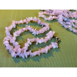 Quartz Rose Collier Baroque 45cm environ