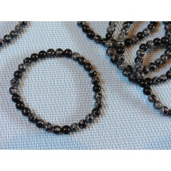 Obsidienne Flocon de Neige Bracelet en Perles de 6mm